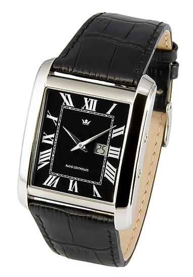Elegante Marquis Hombre Radio Reloj de) (Junghans de pulsera de piel negra con cierre