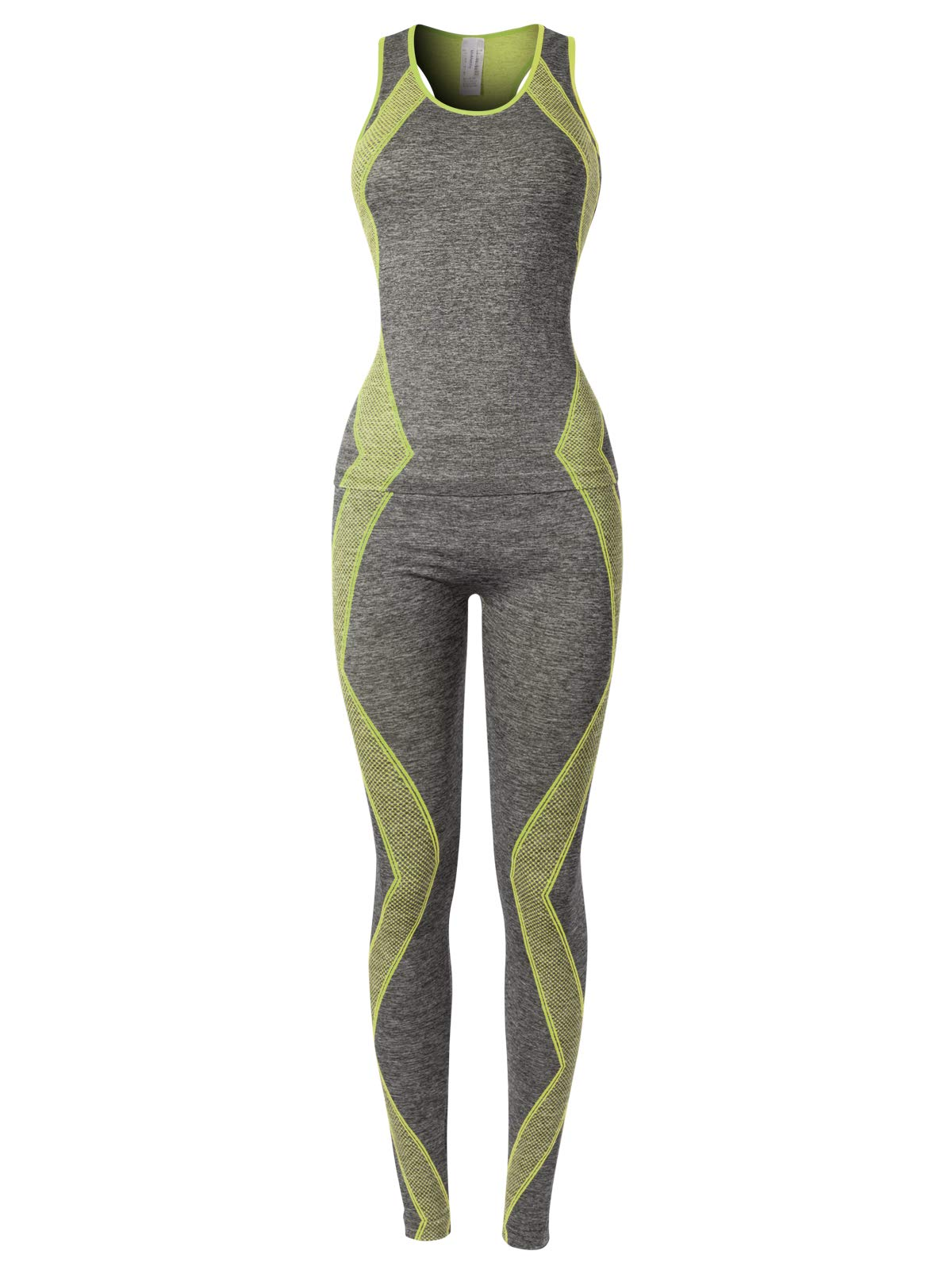 MixMatchy Women's Sports Gym Yoga Workout Activewear Sets Top & Leggings Set Grey/Lime Green ONE by MixMatchy