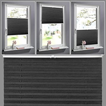 KINLO Jalousien Rollo Sonnenschutzrollo Klemmfix ohne Bohren für Fenster Tür 80x130cm Verdunkelungsrollos Plissees Seitenzugr