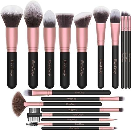Brochas de Maquillaje EmaxDesign 18 pcs Juego de brochas de maquillaje profesional Premium Sintético Pinceles de maquillaje para Fundación Sonrojo Ocultadora Polvo Líquido Crema (Rose Golden): Amazon.es: Belleza