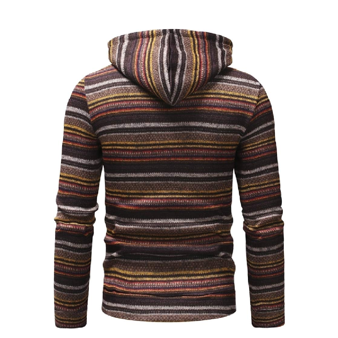 YUNY Men Spell Color Basic Printed Striped Leisure Sweatshirt Coffee S
