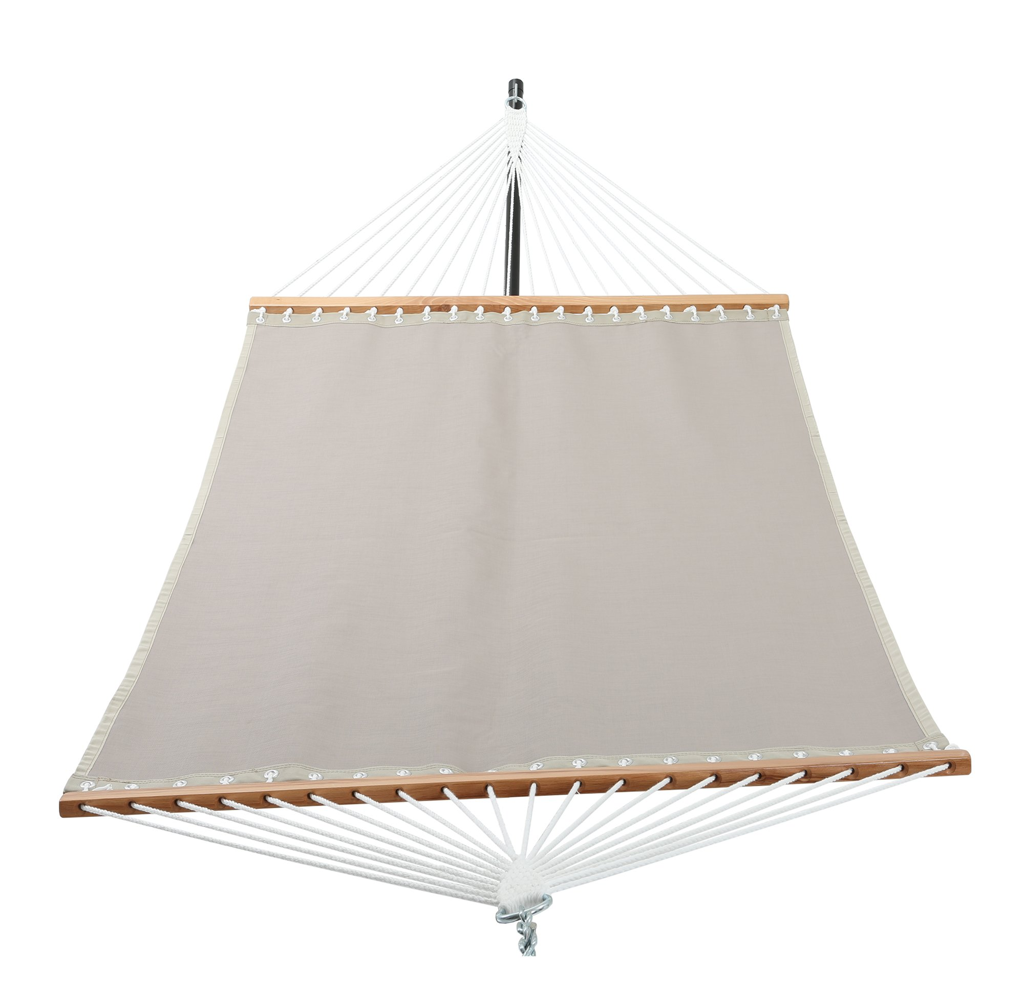 Patio Watcher 14 FT Quick Dry Hammock with Double Size Solid Wood Spreader Bar Outdoor Patio Yard Poolside Hammock with Chains, Waterproof and UV Resistance, 2 Person 450 Pound Capacity - Dimensions: Patio Watcher hammock is large enough to accommodate 2 person. The hammock bed size is 77 inch x 55 inch (195 cm x 140 cm), 11.25-foot from loop to loop, the total length is 14-feet with the steel chain link. This hammock is comfortable and high quality, it's designed to safely support a maximum capacity of 450 pounds. Durable Fabric: This Hammock is made of Textilene material that is soft, breathable, comfortable, weatherproof and oil proof. The fabric is vinyl coated for easy clean up and dry quickly. Easy to Use: There is a long wooden bar at each end with drilled out holes spaced throughout for the support ropes to go through. Each rope is super thick and braided for maximum durability and support. The 20 ropes collect together and weave into a very pretty triangle pattern, which attaches to a ring and the chain-link can be used for hanging the hammock. - patio-furniture, patio, hammocks - 71ImF%2BpyuBL -