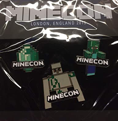 Amazon com: Minecraft Minecon 2015 Exclusive Pin Set of 3 Grey: Clothing