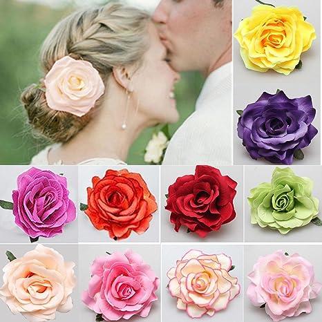 bas prix codes promo bien pas cher Barrette Fleur,Fleur Clip 10 pièces Multicolore Clip de Fleurs Roses Pin Up  Broche Fleur pour les Femmes Filles pour cheveux en mousse pour la Plage ...