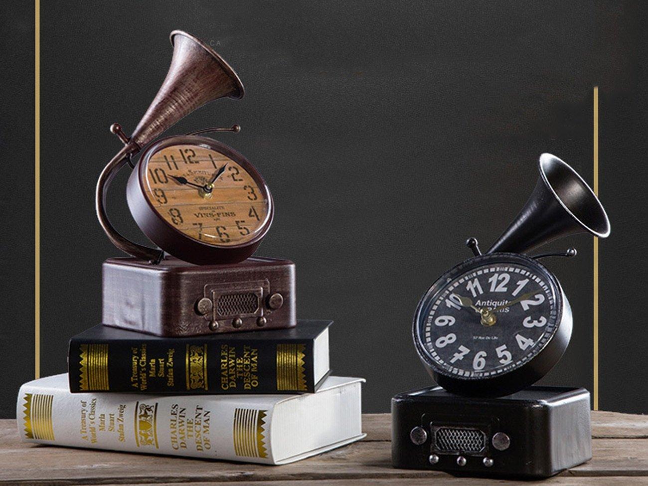 クラシックは、古い祝福モデルクロック、レトロ鉄の装飾テーブルクロック、ホームリビングルームショップのウィンドウの装飾棚の時計やギフト(14 * 17 * 27センチメートル) (色 : 褐色) B07D193STS 褐色 褐色