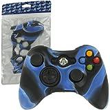 Housse de protection Assecure en silicone souple camouflage bleu pour étui de manette Microsoft Xbox 360 en caoutchouc absorbeur de chocs