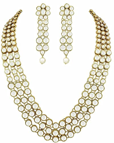 I Jewels 22K Gold Plated Kundan Jewellery Set for Women IJ301W