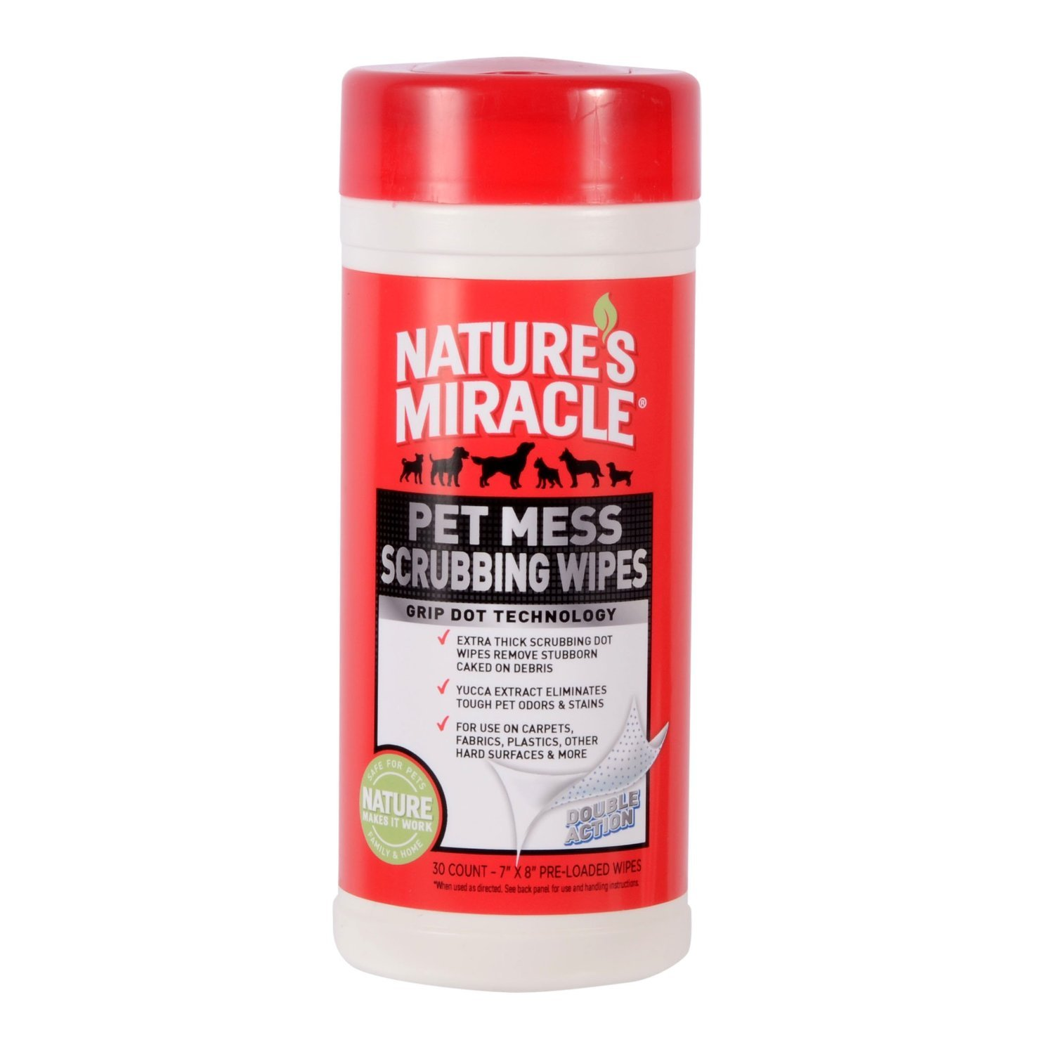Nature's Miracle Pet Mess Scrubbing Wipes, 30 count (3 Pack)