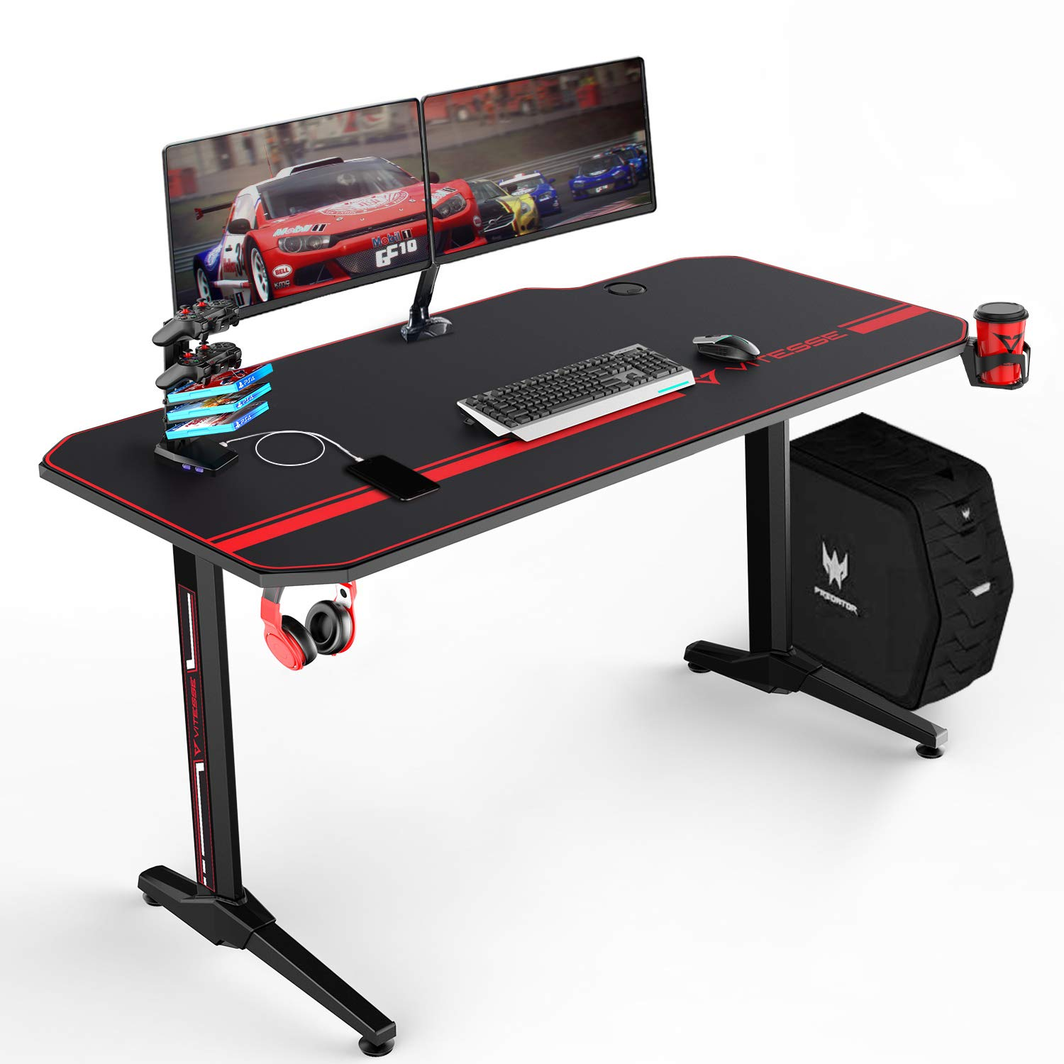 VIT 55 Inch Ergonomic Gaming Desk, T-Shaped Office PC Computer Desk with Full Desk Mouse Pad, Gamer Tables Pro with USB Gaming Handle Rack, Stand Cup Holder Headphone Hook 55 in BLK