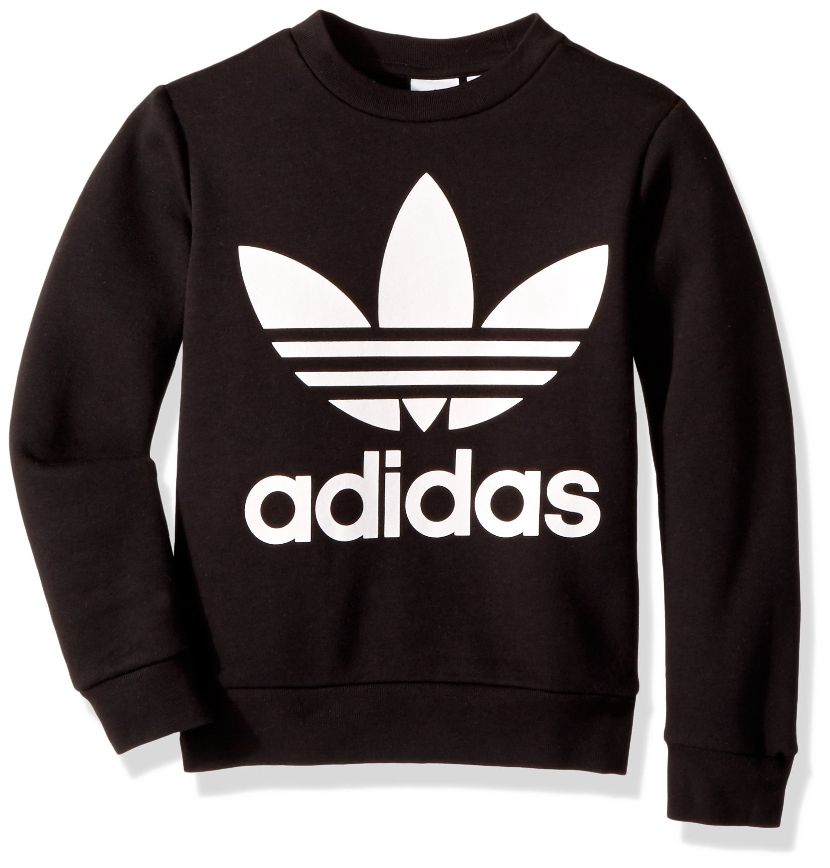 adidas Originals Boys' Big Fleece Crew, Black/White, X-Large