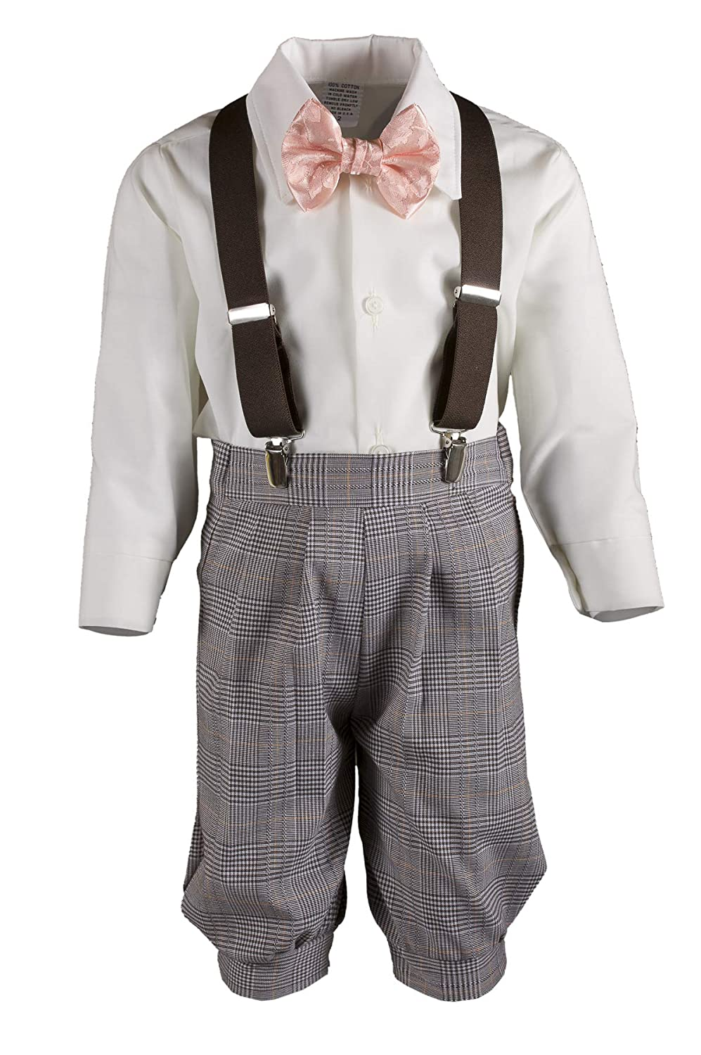 eebc73831be0 Amazon.com: Boys Brown Plaid Knickers Pageboy Cap with Rose Bow Tie &  Suspenders: Clothing