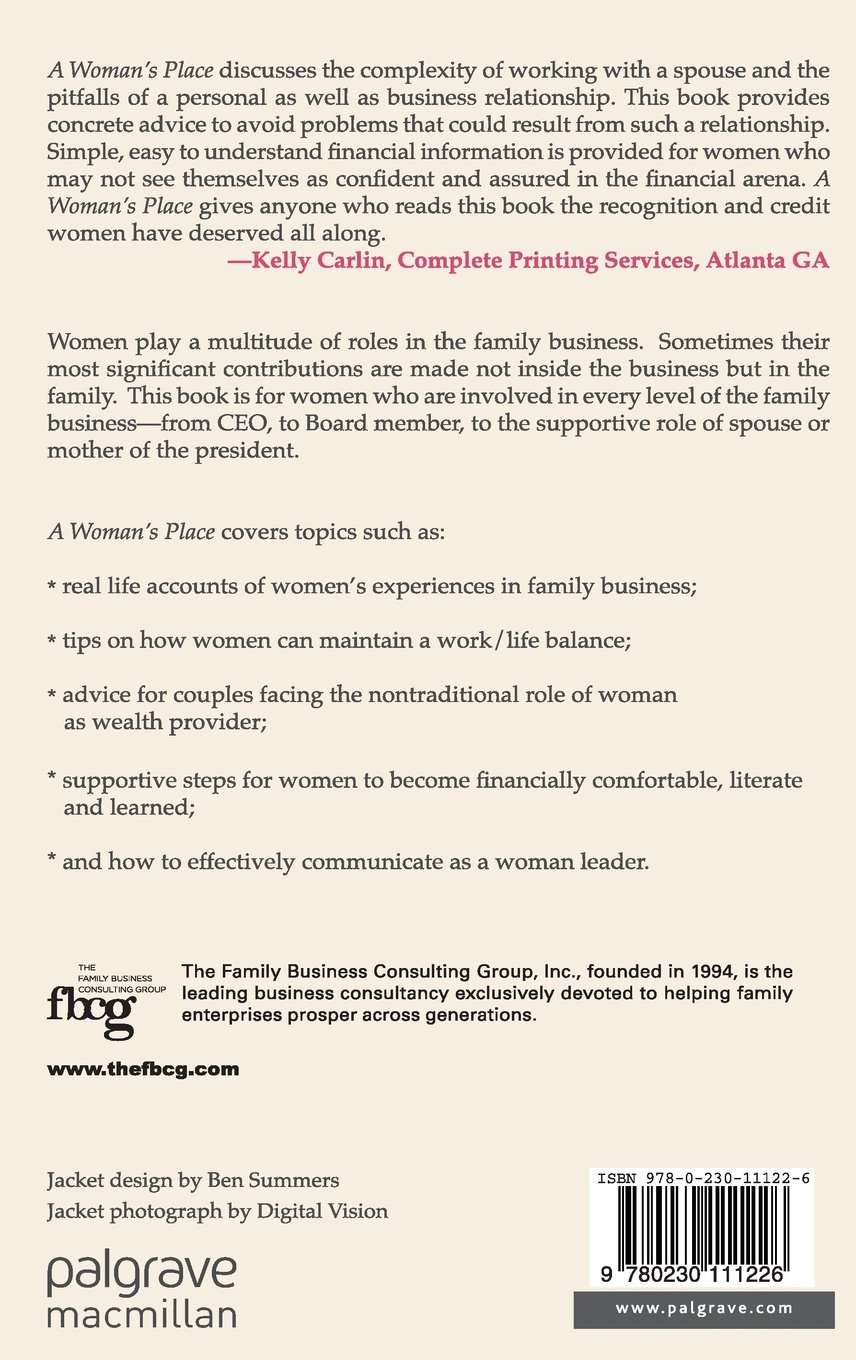 com a w s place the crucial roles of women in family com a w s place the crucial roles of women in family business a family business publication 9780230111226 a dugan s krone k lecouvie