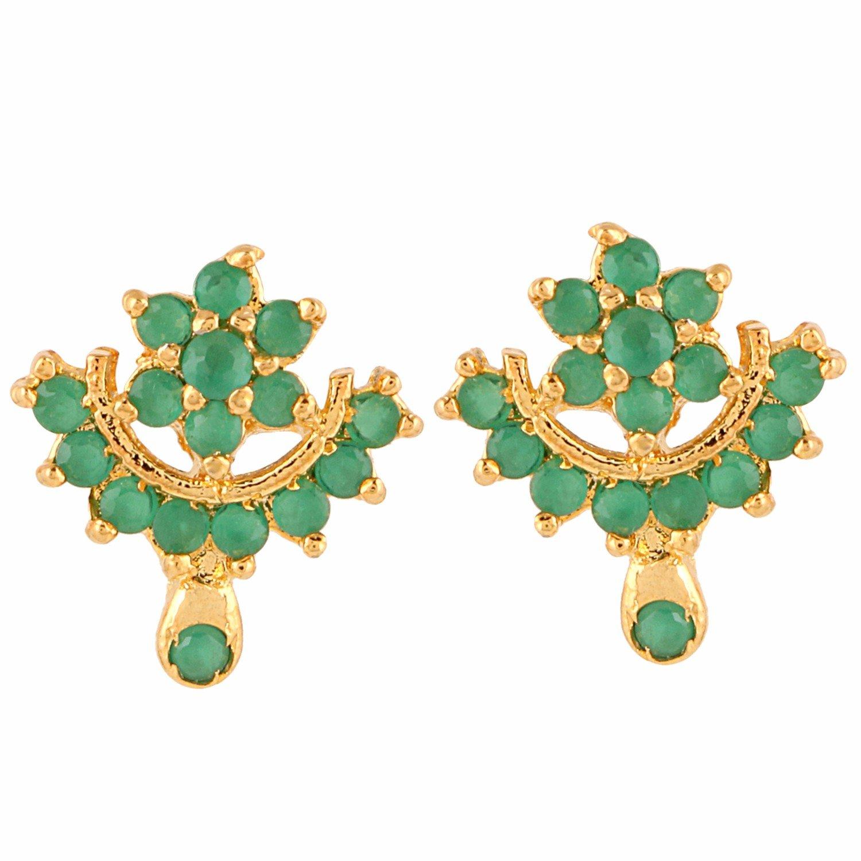 Efulgenz Stud Earrings 14 K Gold Plated Hypoallergenic Cubic Zirconia Flower Emerald Green Studs Pierced for Women Girls (Color Options)