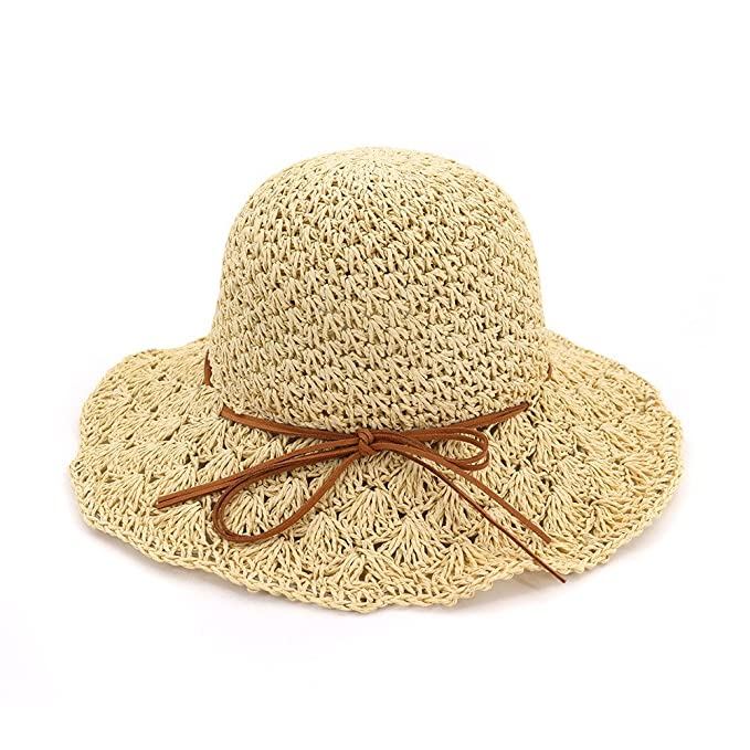 c7d472fbfe8eb Beauty7 Beige Women Foldable Beach Summer Straw Sun Hat Floppy Roll up Wide  Brim Bowknot Fedora