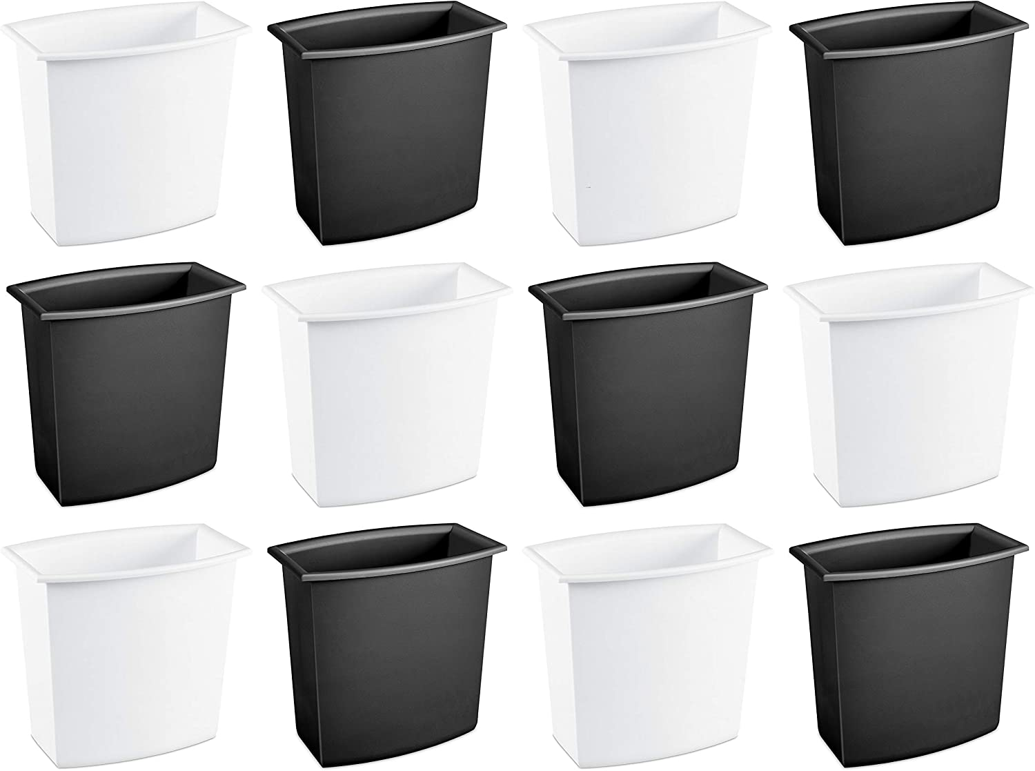 Amazon Com Sterilite 10220012 2 Gallon 7 6 Liter Rectangular Vanity Wastebasket Black White 12 Pack Home Kitchen
