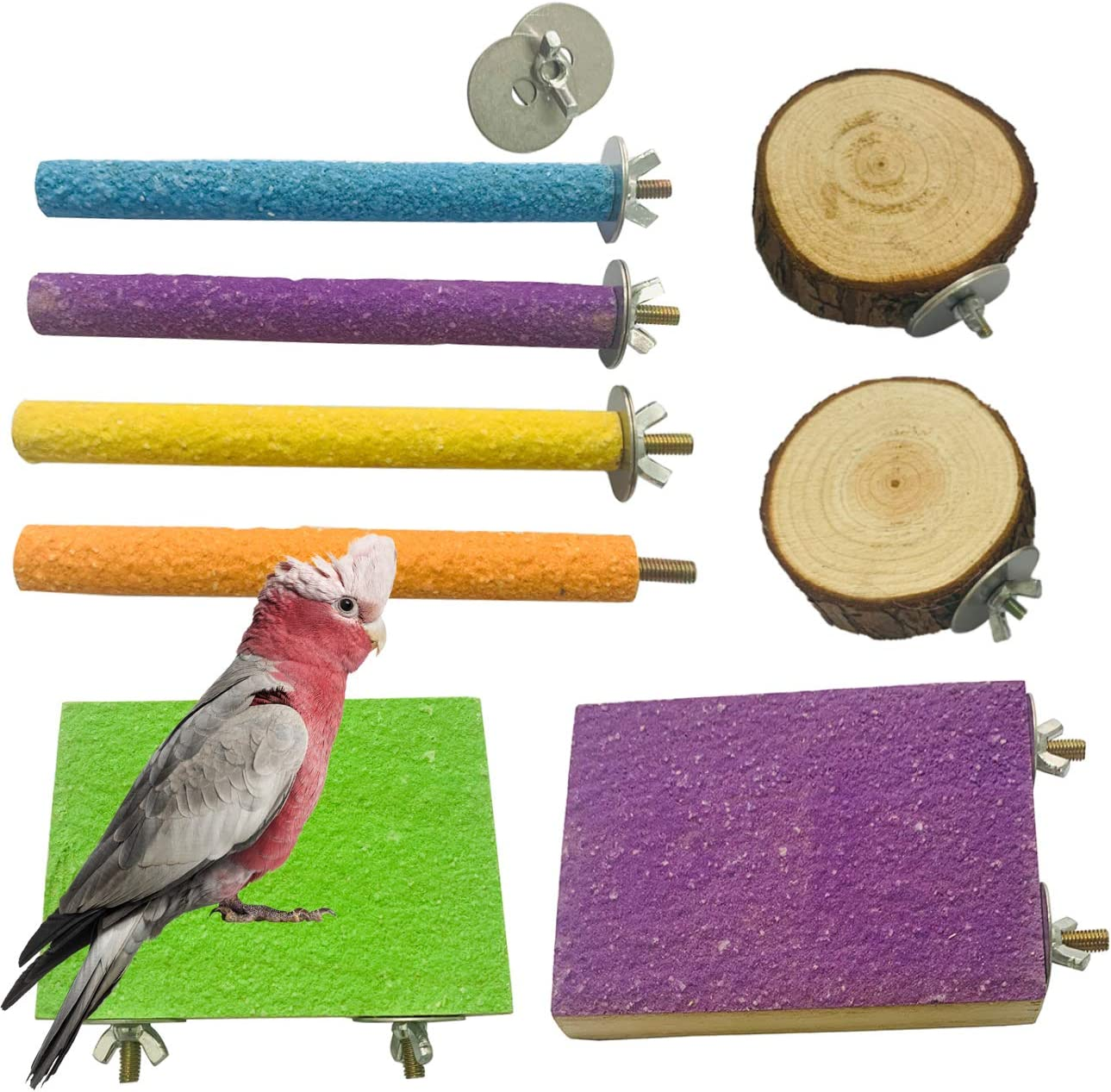 ZYYRT Parrot Perch Stand8PCS Wooden Bird Paw Grinding Stick Perch Stand PlatformParakeet Cage Accessories Exercise Toy for Budgies Conure Cockatiel