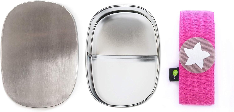 con scomparto e chiusura in velcro personalizzabile adatto per bambini portapranzo in acciaio inox Do dotty perfetto per la scuola argento dimensioni 16,5 x 12 x 4 cm