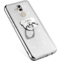 Compatible avec Huawei Mate 20 Lite Coque Silicone Luxe Paillette Brillante Bling Glitter Coque + Ours Bague Support TPU Ultra Mince Anti-Choc Souple Bumper Métal Coque pour Huawei Mate 20 Lite,