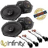 "(2Pairs) Infinity Kappa 682.11cf Peak Power Handling 300w 6""x8""/5""x7"" Two Way Car Audio w/Metra 72-5600 Ford Speaker Harness 1998-UP"