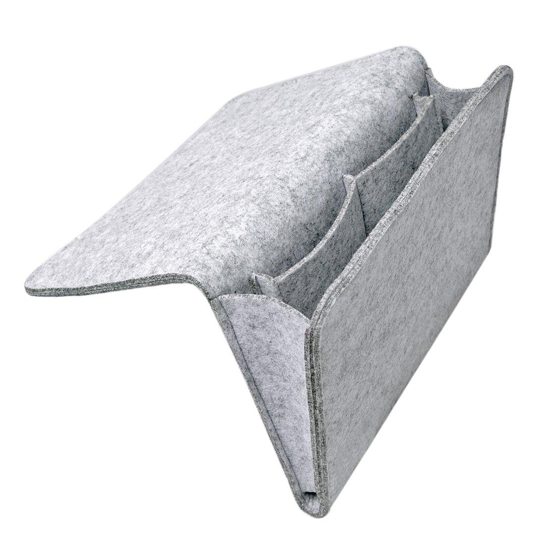 Jiyaru Bedside Pocket Caddy Organizer Hanging Storage Bag for Phone Magazine 34x26x3cm Grey