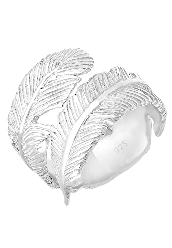 Elli Women's 925 Sterling Silver Adjustable Feather Wrap Ring rKOXvt