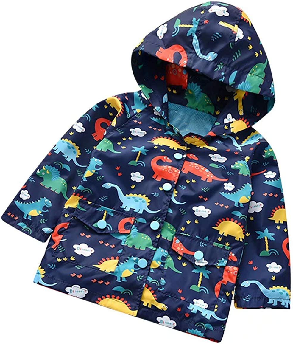ALLTB Boys Cartoon Dinosaur Jackets Hooded Windproof Kids Mesh Lined Hooded Windproof Raincoat for Toddler Light Outwear
