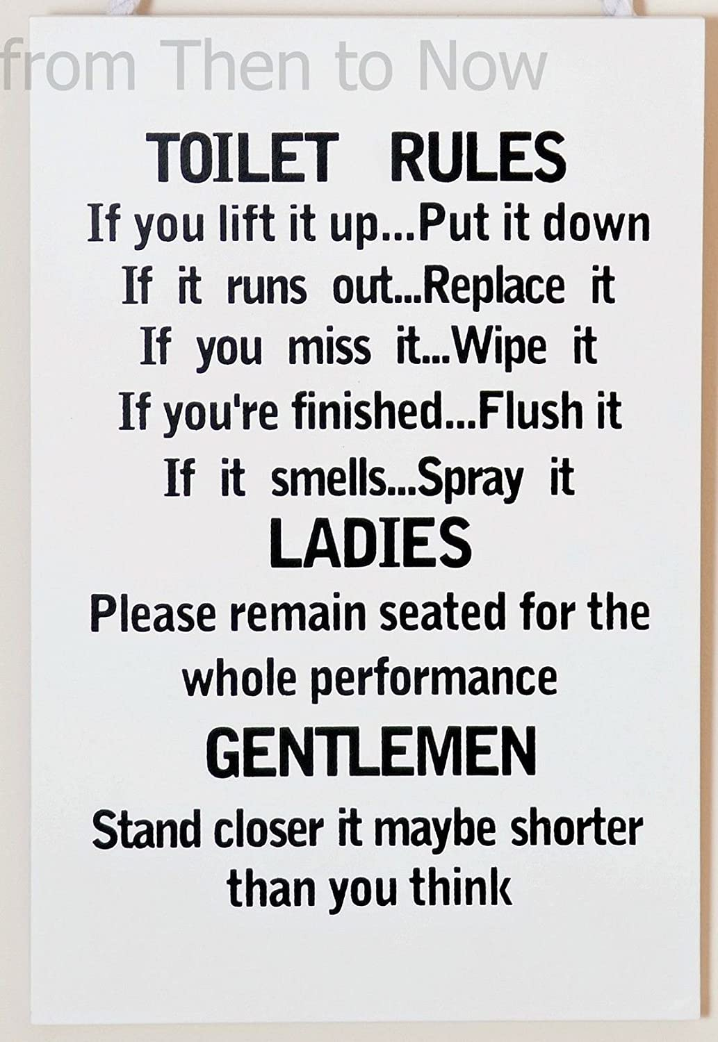 Amazon Wooden Funny Plaque Sign Toilet Rules Bathroom Home Kitchen