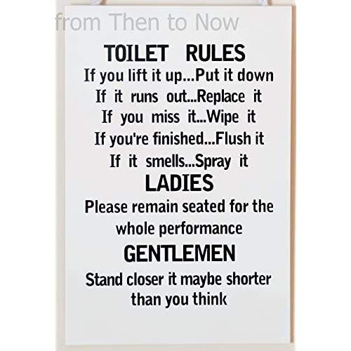 leonardo unique toilet rules novelty hanging bathroom white plaquefunny wooden sign for wall or - Funny Bathroom Signs