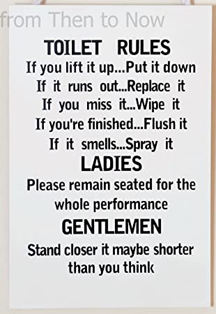 Amazon Com Wooden Funny Plaque Sign Toilet Rules Bathroom Home