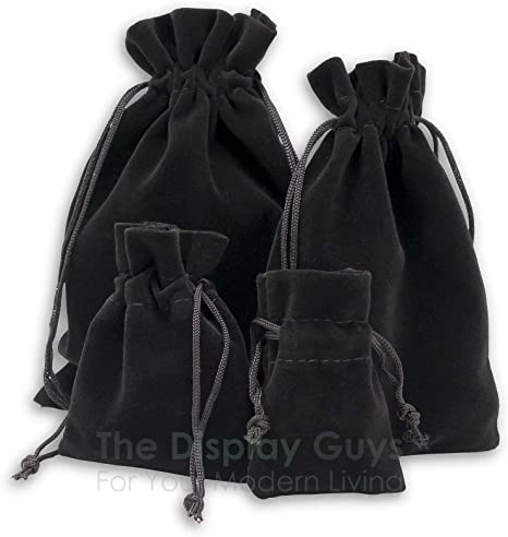 Small Velvet Black Pouches With Drawstrings AD