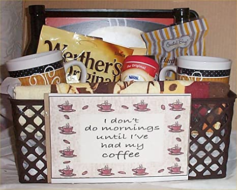 Amazon.com : Deluxe Coffee Gift Basket Tray 2 Mugs Candy Towel Creme Syrup Hot Chocolate : Everything Else