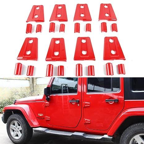 Jeep Wrangler Red Door Hinge Cover For 2007 2018 Jeep JK Wrangler Unlimited  Sahara Rubicon