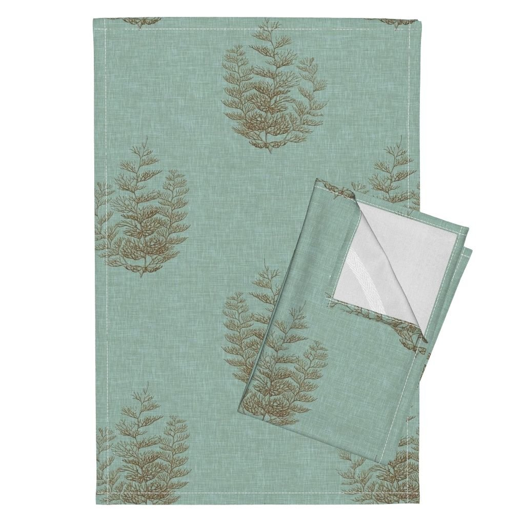 Fern Coral Beach Linen Spa Tea Towels Fern Coral, in Spa by Willowlanetextiles Set of 2 Linen Cotton Tea Towels
