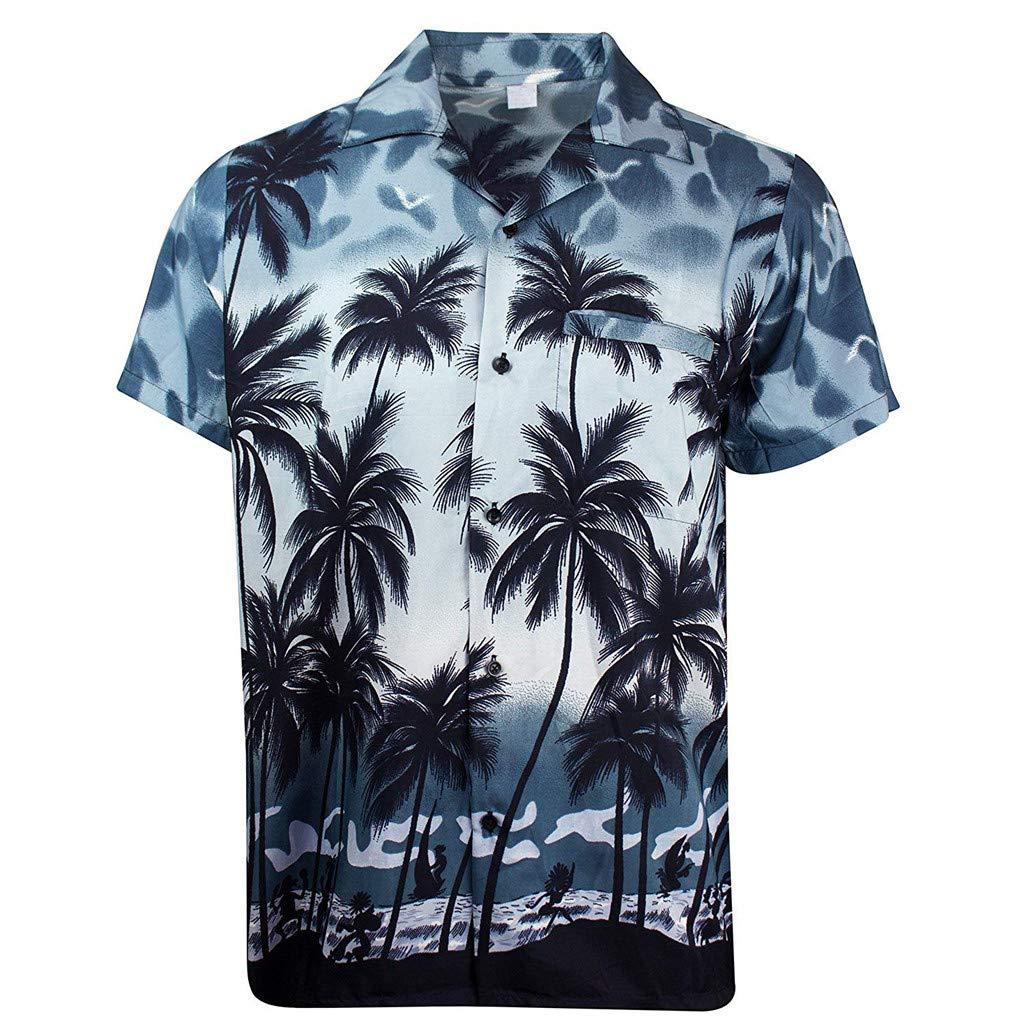 New Mens Hawaiian Shirt Summer Holiday Casual Coconut Tree Printed T-Shirt Tops