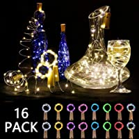 VIPMOON 16 PACK Led Bottle Cork Lights, 8 Color 2m 20LED Silver Wire Battery Operated Fairy Starry Wine Bottle Lights LED String Lights for DIY Fantastic Bedrooms Parties Weddings Halloween Christmas Barbecue Garden Square Indoor Outdoor Decoration