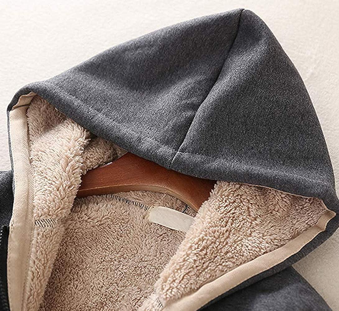 Manluodanni Mode Femmes Sweats à Capuche Casual Hoodies Zippé Manteaux Ultra Chaud à Capuche Automne Hiver Gris Clair