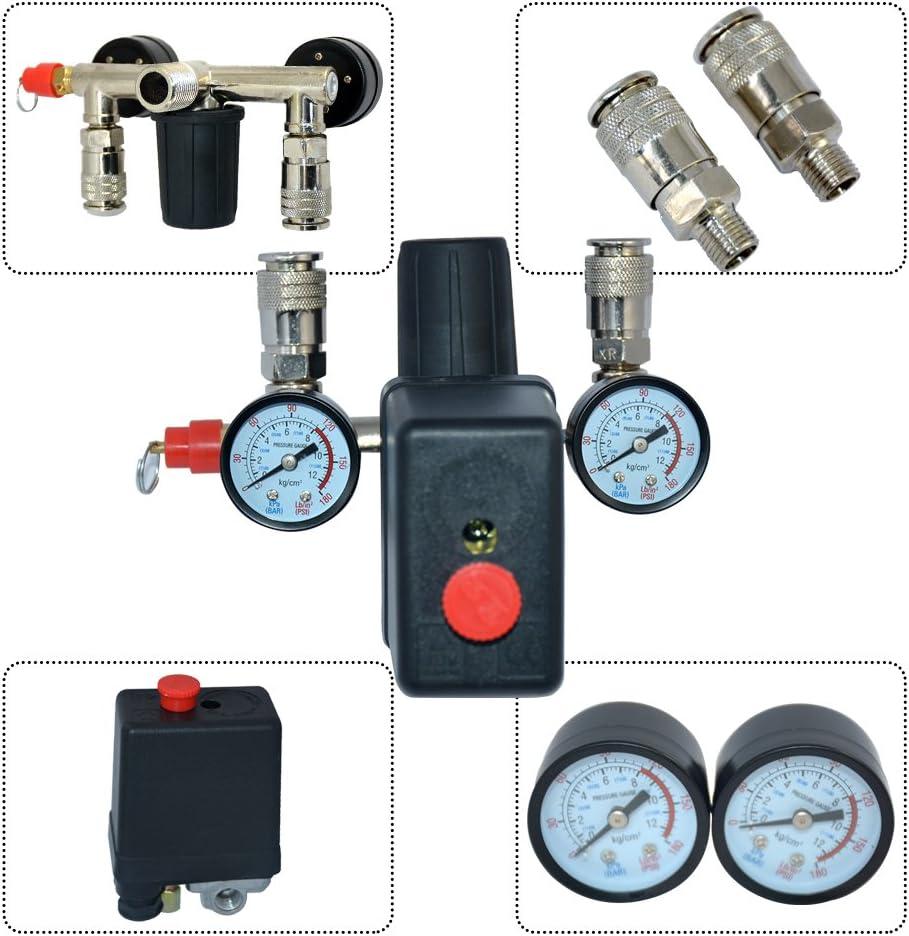 R/égulateur de Pression d/'Air avec Pressostat Pour Compresseur Commutateur de Pression Interrupteur de charge 230V 1 Set
