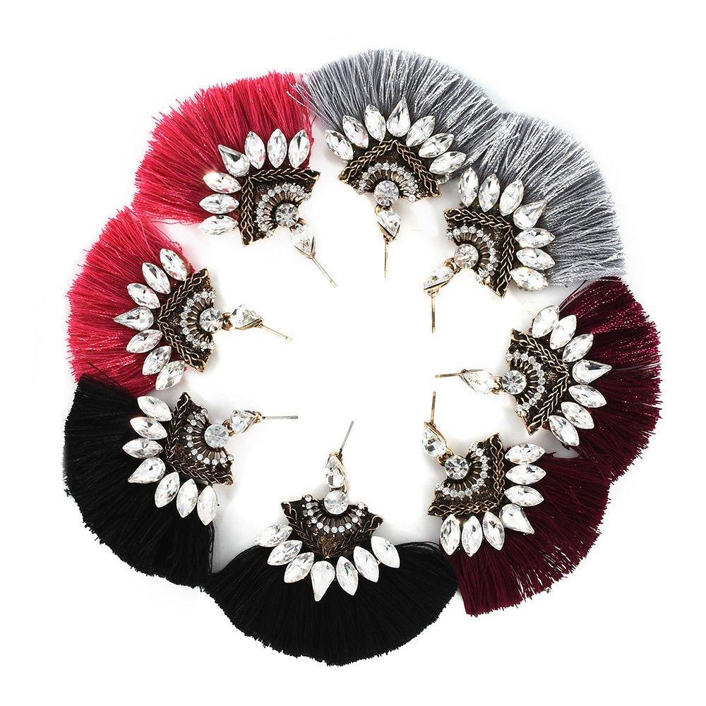 Fashion Women Crystal Rhinestone Tassel Drop Dangle Ear Stud Earring Jewelry LOVE STORY (Black) by LOVE STORY (Image #3)