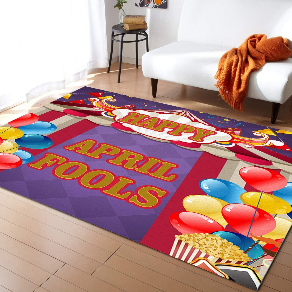Contemporary Indoor Area Rugs, Happy April Fools' Day Tent Ballon Modern Home Decor Rug Durable Hardwood Floor Mat Carpet for Living Room/Bedroom, 5' x 8'