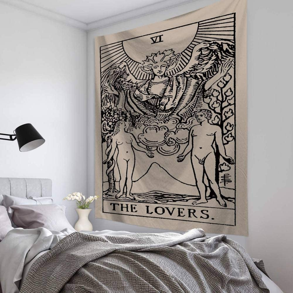 Tapisserie Murales White and Black Tarot Tapestry The Lovers Tapestry Medieval Europe Divination Tapestry Wall Hanging Tapestries Mysterious Wall Tapestry for Home Decor,28.7ʺ /× 37.4ʺ