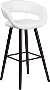 Flash Furniture Brynn Series 29'' High Contemporary Cappuccino Wood Barstool in White Vinyl