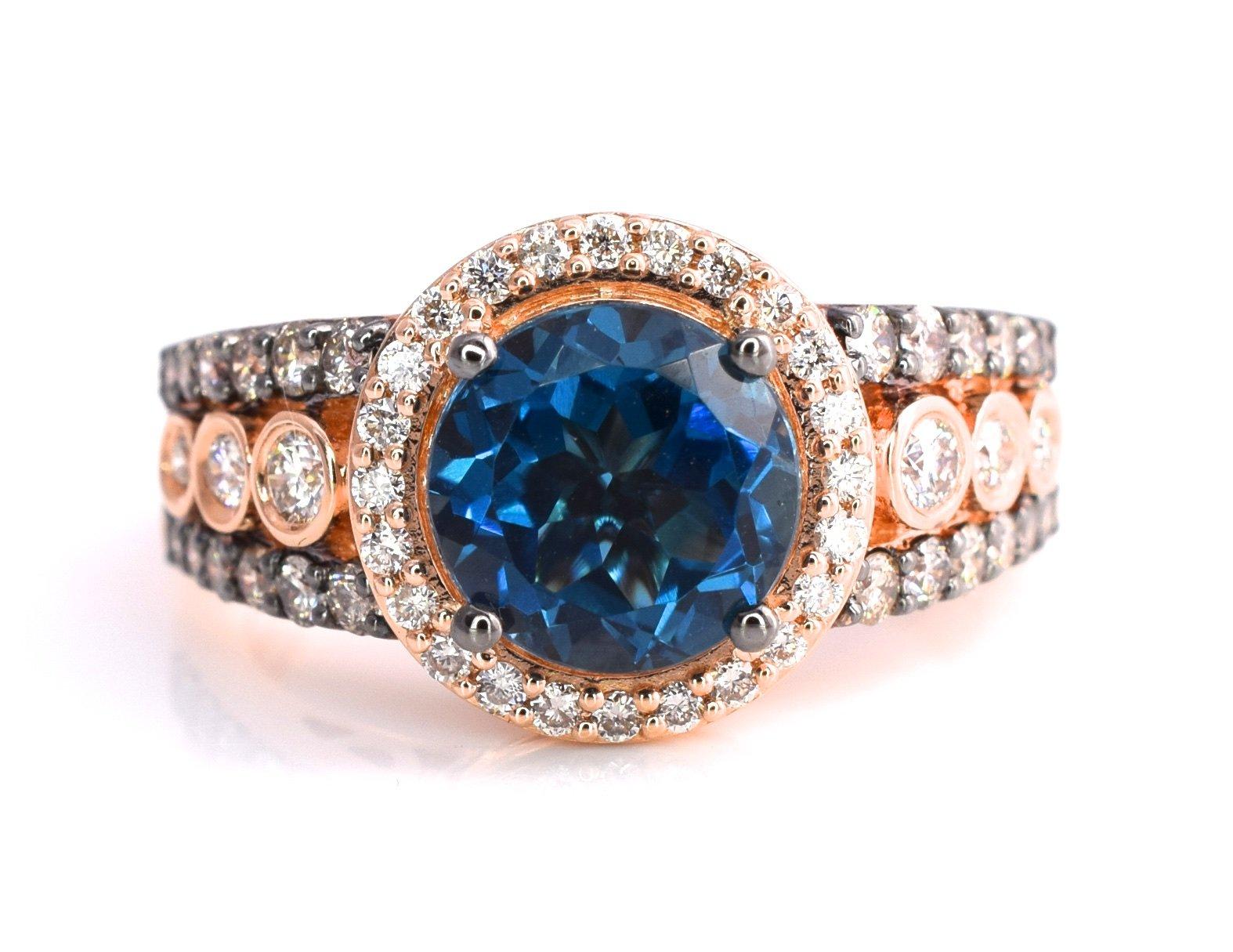 LeVian Deep Sea Blue Topaz Ring Chocolate and Vanilla Diamonds 2.67 cttw 14K Rose Gold Size 7