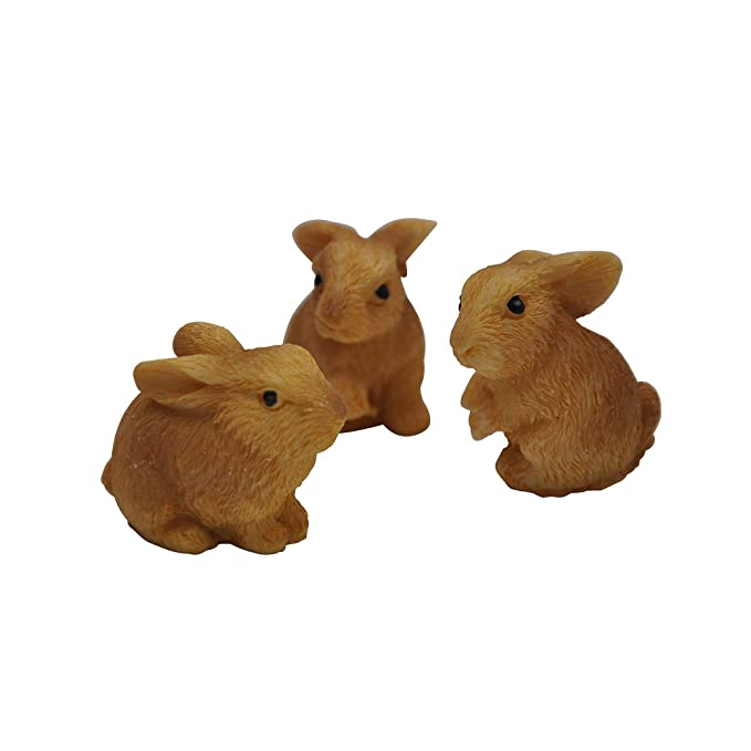 Darice Yard and Garden Minis - Rabbits - Resin - 3 pieces, Tan, 1 x 1 inch