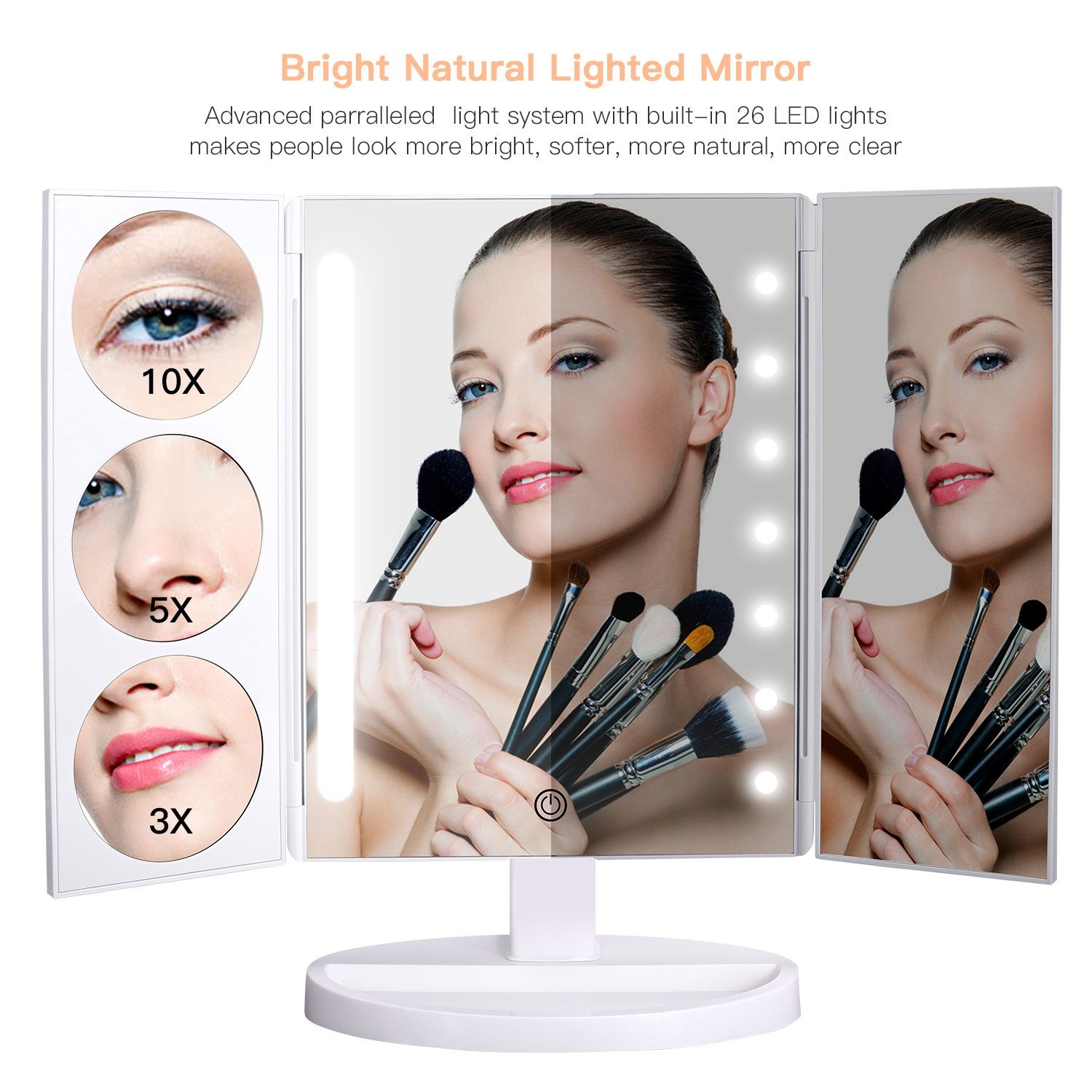 BESTOPE Makeup Mirror Oversize 18.8inch Lighted Vanity Mirror with 10X/5X/3X Magnification, 26 LED Light Trifold Cosmetic Mirror with 360° Rotation and Touch Screen by BESTOPE (Image #2)