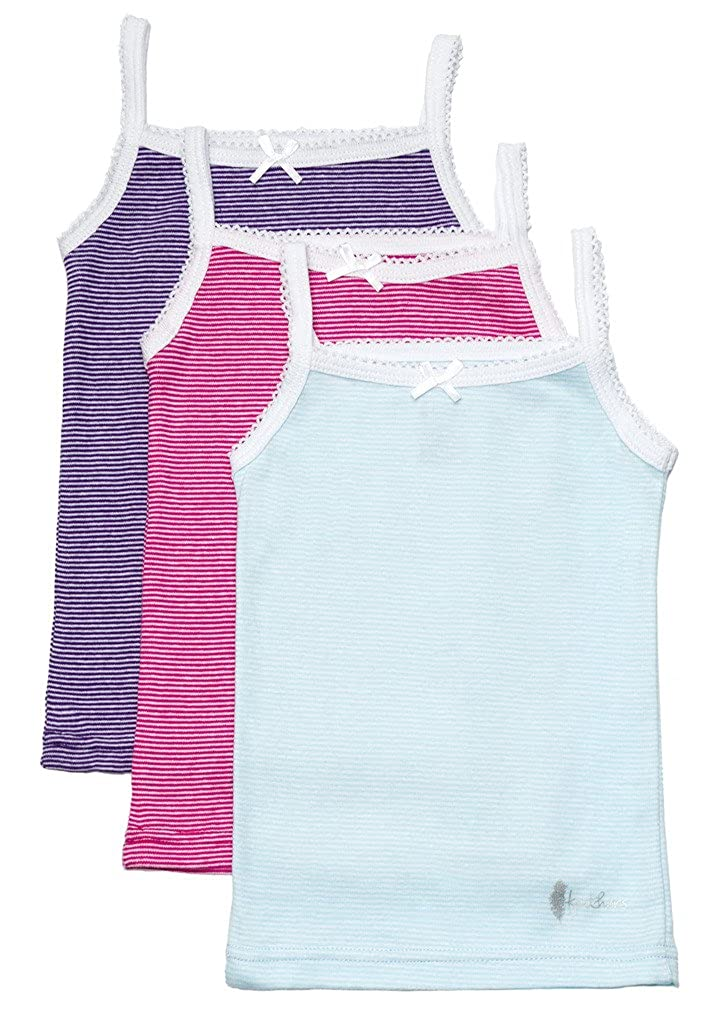 Feathers Girls Multi Stripe Tagless Cami Super Soft Undershirts (3/Pack)
