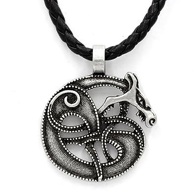 a8decad70ab04 TTKP Viking Retro Wolf Fenrir Norse Mythology Odin And Fenris Pendant  Necklace Snake Amulet Jewelry