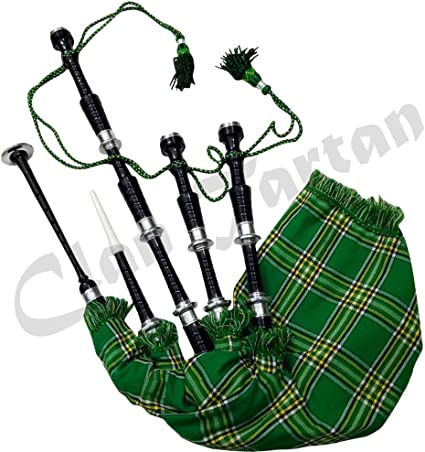 Scottish Great Highland Bagpipes Black Silver Amounts Irish Tartan Tutor Book