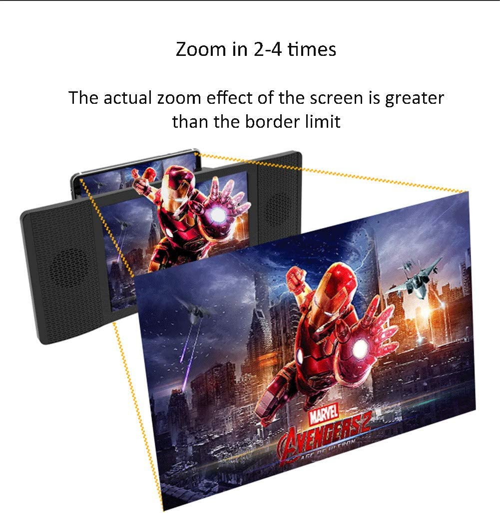 DevileLover Phone Screen Magnifier 8-12 inch Anti-Fatigue Multifunction Anti-Fatigue 3D HD Movie Video Amplifier Radiation Resistant with Speaker Stand Holder for Smart Phone Screen Amplifier