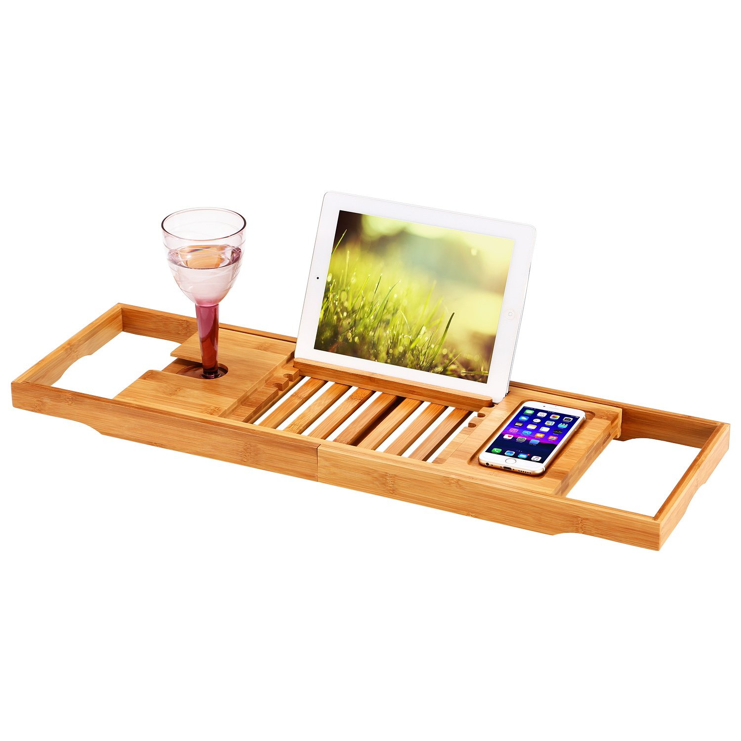 Amazon.com: Ollieroo Natural Bamboo Bathtub Caddy with Extending Sides  Adjustable Book Holder Tray Organizer for Phone and Wineglass: Home &  Kitchen