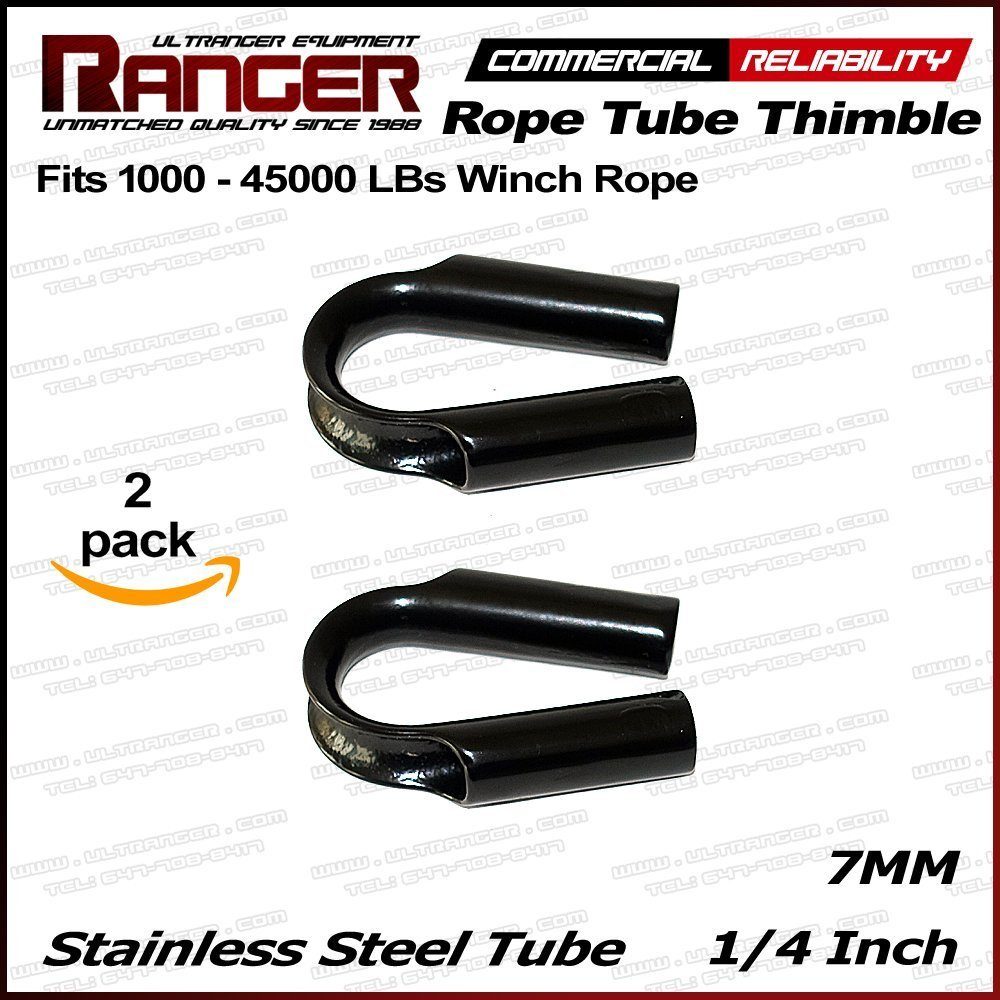 "Ranger 7MM 1//4/"" Stainless Steel Rope Tube Thimble For 3//16/"" Wire Synthetic Winch"